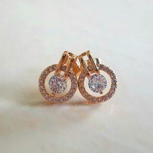 Rose Gold Plated AAA Zircon Stud Earrings [NWOT]